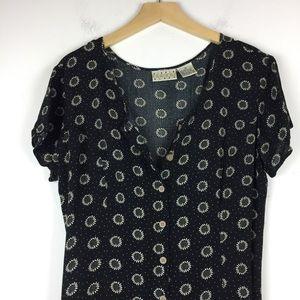 Vintage 90s tie back button front maxi dress black